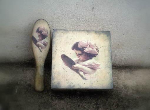 Krabička a kefa s motívom dievčatka